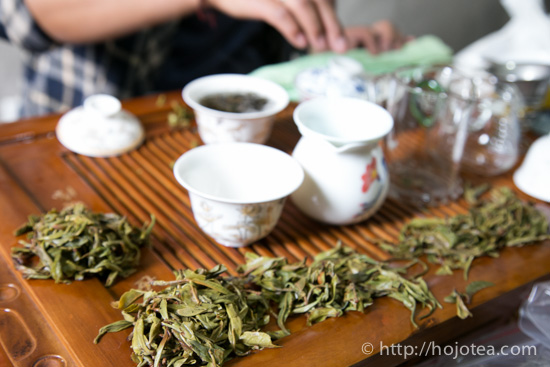 Brewed leaves of puerh tea