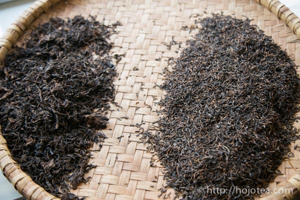 プーアル熟茶の毛茶と特級