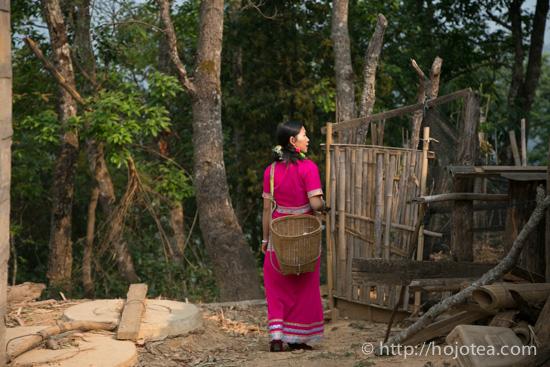 Bu Lang lady walking to the tea garden