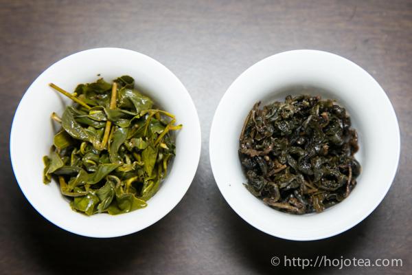 左は微発酵で火が入ってない烏龍茶、右は伝統式凍頂烏龍 炭焙