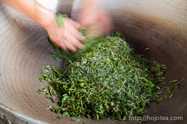 pan-frying process of pu-erh tea