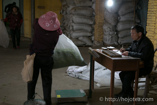 inspection of the weight of tea collected a day