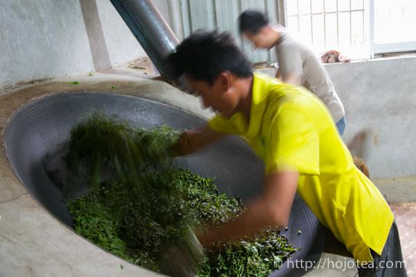 pan-frying pu-erh tea
