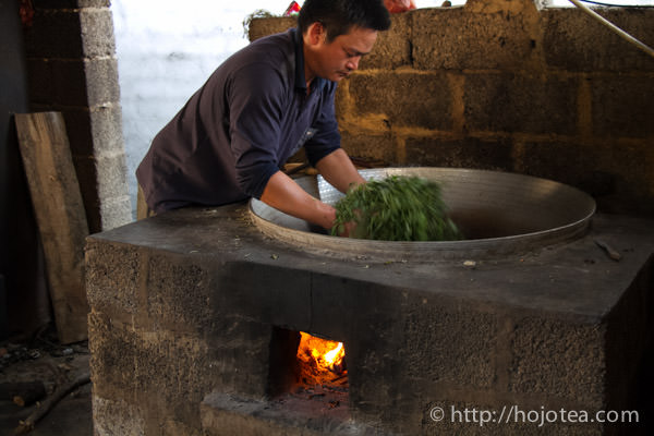 pan-frying process of making raw pu-erh