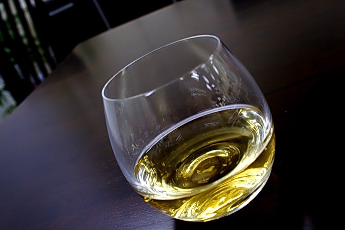 Transparent Light Yellow color reminds us of Champagne. Use a nice glass ware such as crystal is cool.