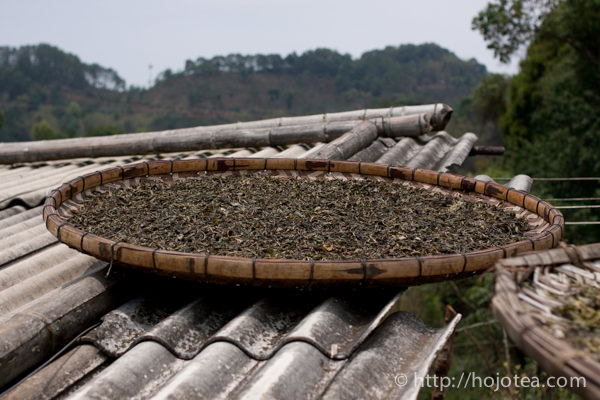 Sunshine drying of pu-erh tea